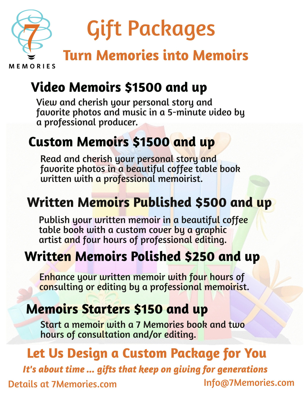 Memoir writing packages for every writing need and budget create a legacy that will live forever write it yourself partner with a loved one or let 7 memories do it for you solutioingenieria Images