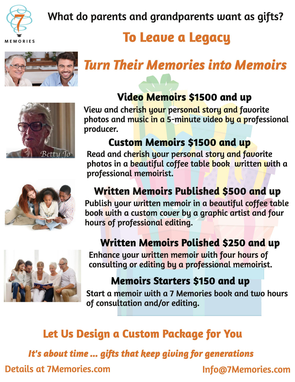 Unique gifts for parents and grandparentsleave a legacy create a legacy that will live forever write it yourself partner with a loved one or let 7 memories do it for you solutioingenieria Choice Image